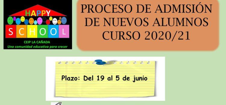 PROCESO DE ADMISIÓN DE NUEVOS ALUMNOS CURSO 2020/21